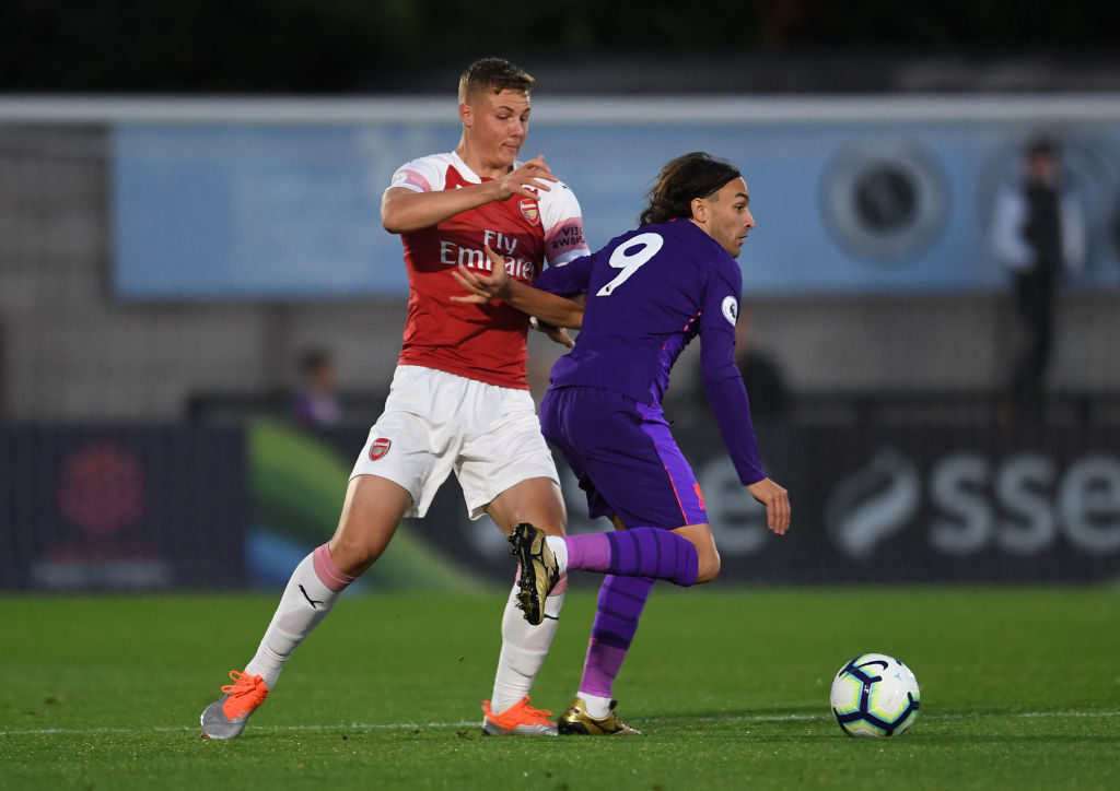 Arsenal loanee Daniel Ballard in action for the Gunners at age level