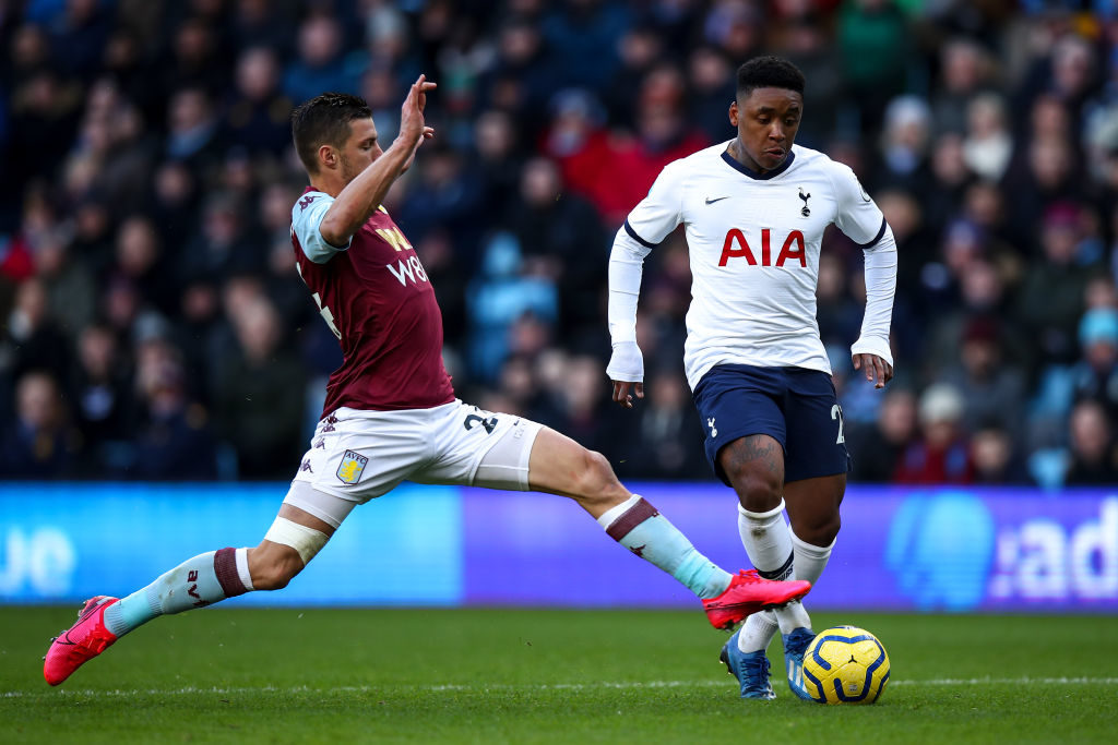 Aston Villa's Frederic Guilbert in action against Spurs