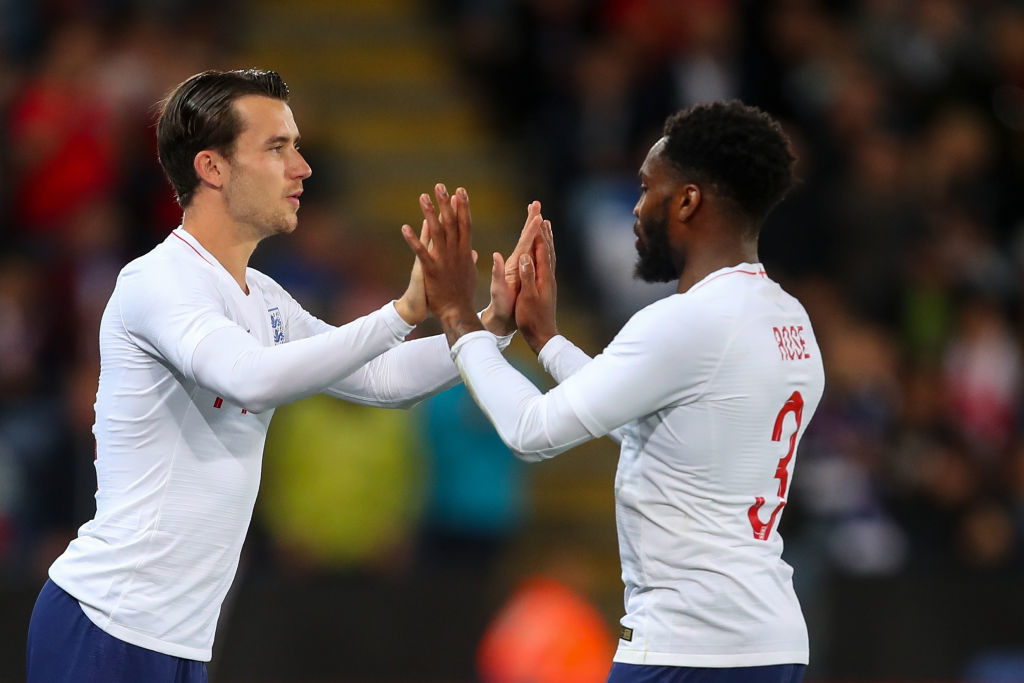 Danny Rose playing for England while with Spurs.