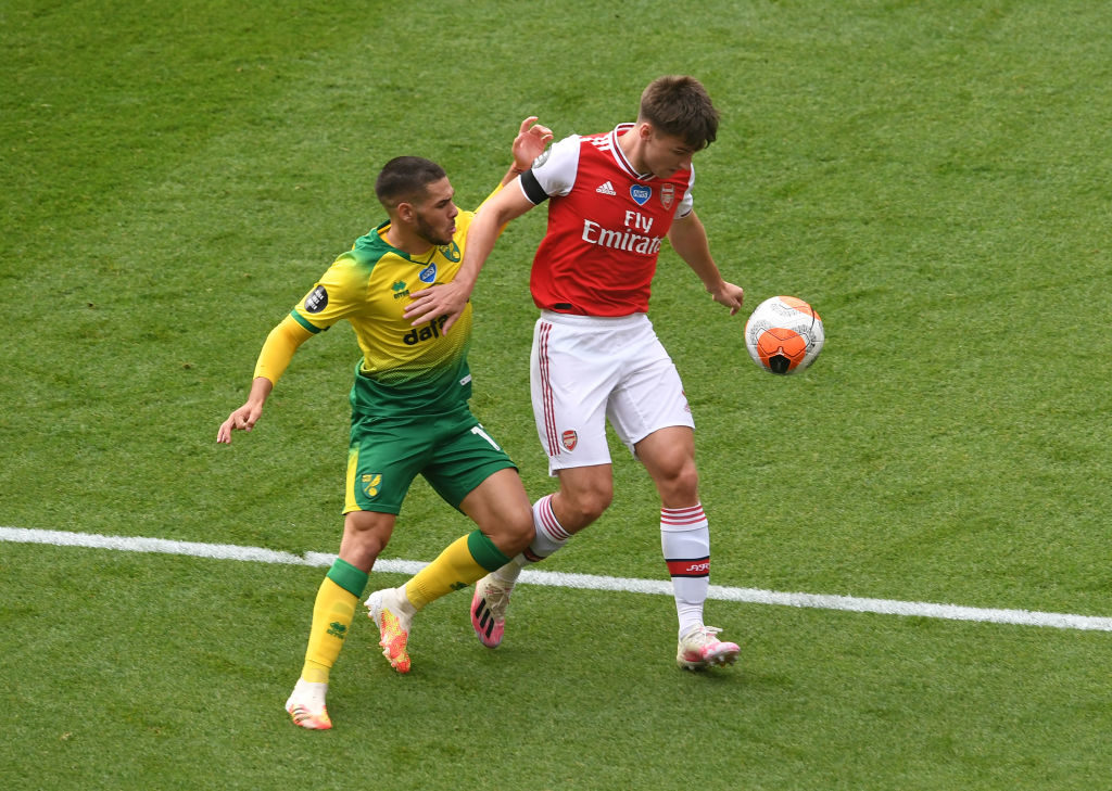 Arsenal in action against Norwich in 2020