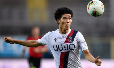 Takehiro Tomiyasu of Bologna FC in action during the Serie A