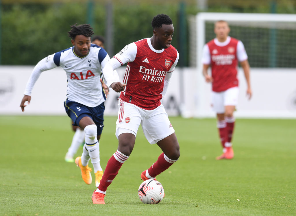 Arsenal midfielder James Olayinka in action for the Gunners at age level