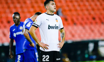 Maxi Gomez of Valencia seen in action during the Spanish