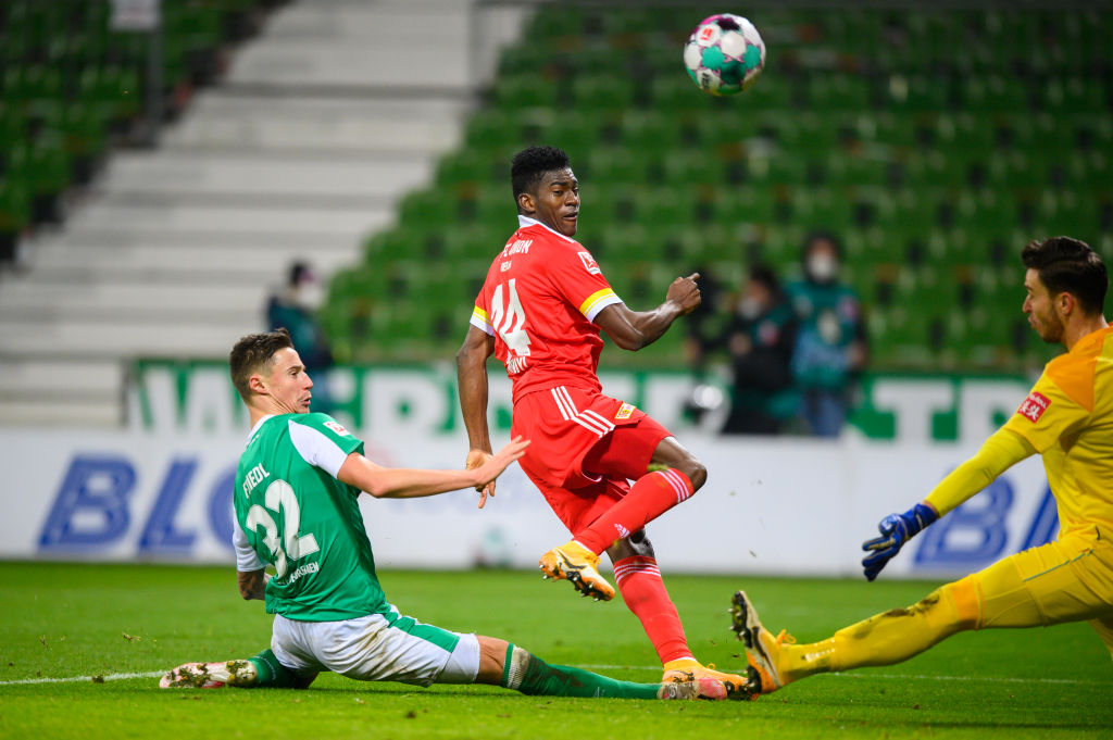 Liverpool player Taiwo Awoniyi in action out on loan with Union Berlin