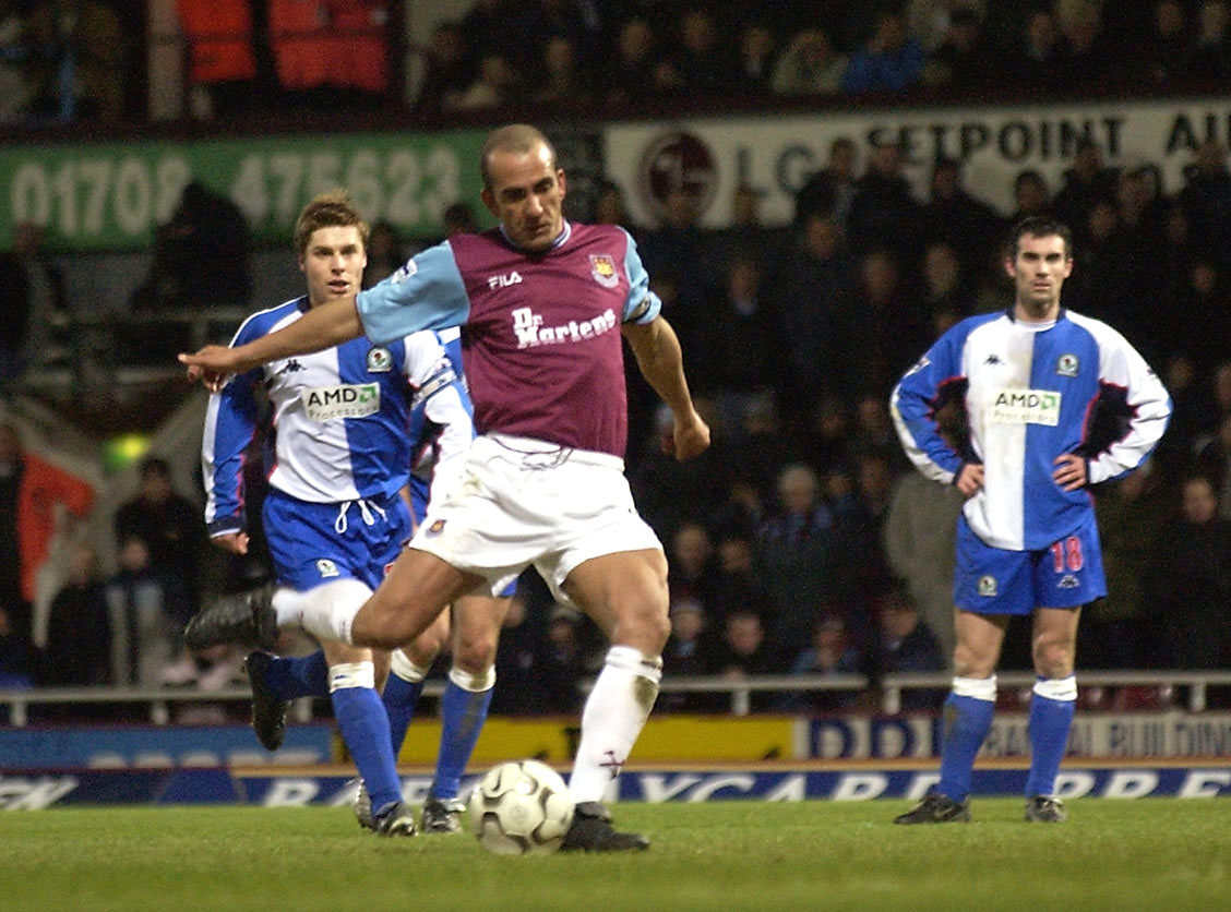 Paolo Di Canio of West Ham scores a goal