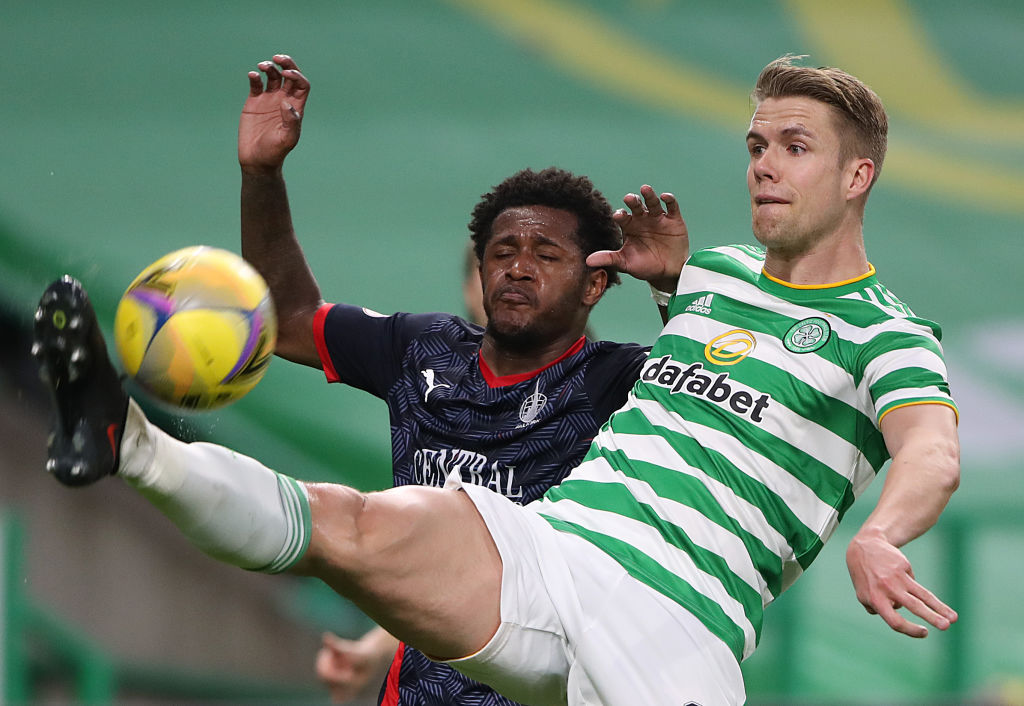 Newcastle transfer target Ajer in action against Falkirk