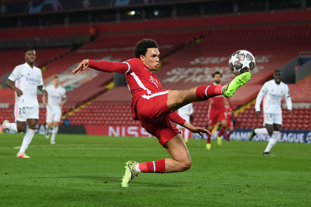 Liverpool right-back Trent Alexander-Arnold in action against Real Madrid