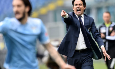 Simone Inzaghi coach of SS Lazio reacts during the Serie A
