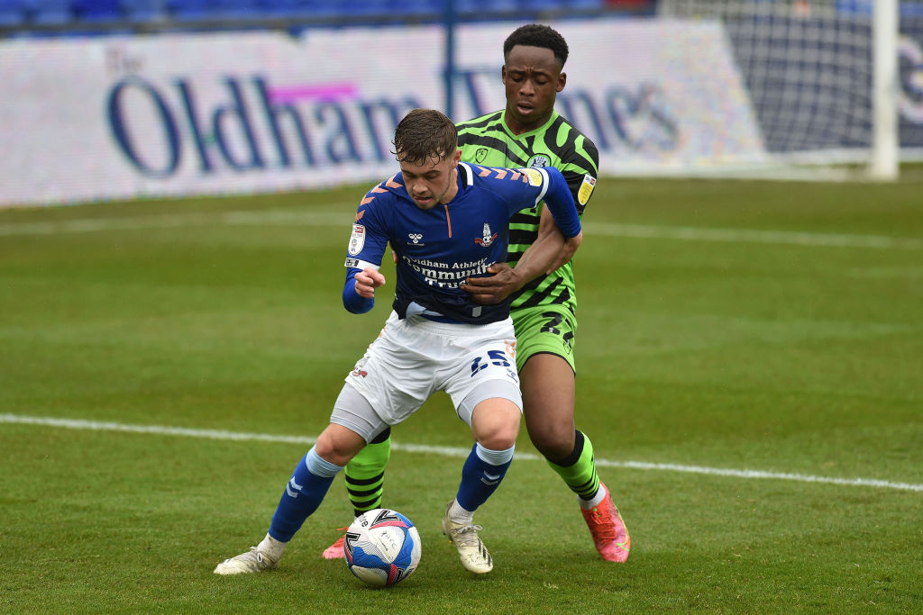 leeds-united-midfielder-alfie-mccalmont-on-loan-oldham-athletic-forest-green-rovers-udoka-godwin-malife-league-two-boundary-park