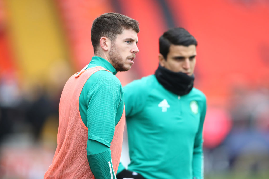 Celtic star Ryan Christie warming up alongside Southampton loanee Mohamed Elyounoussi
