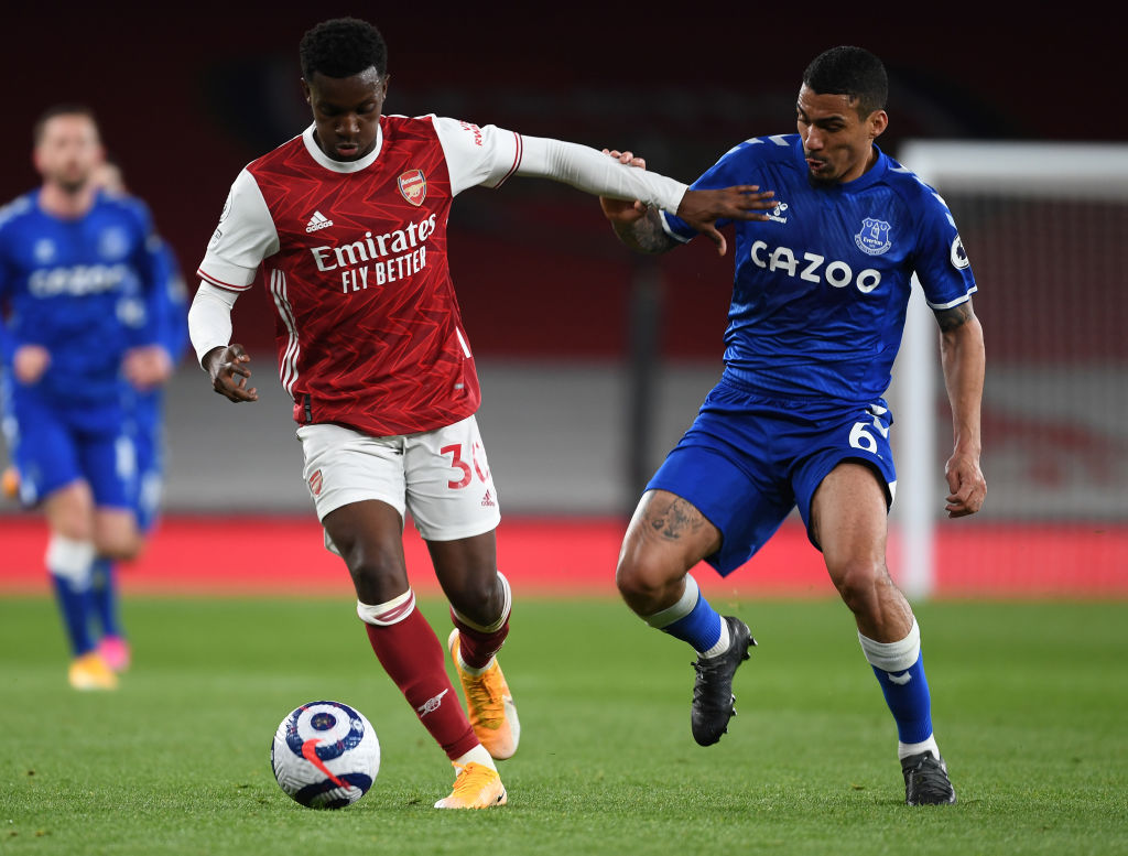 Arsenal youngster Eddie Nketiah in action against Everton