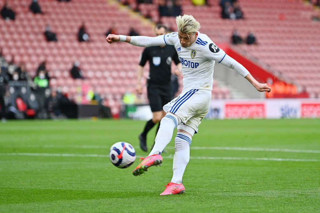 Gjanni Alioski playing for Leeds in their win over Southampton