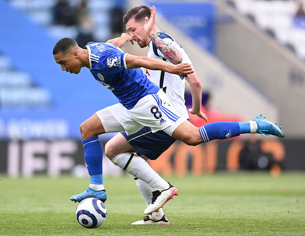 Youri Tielemans in action for Leicester City.