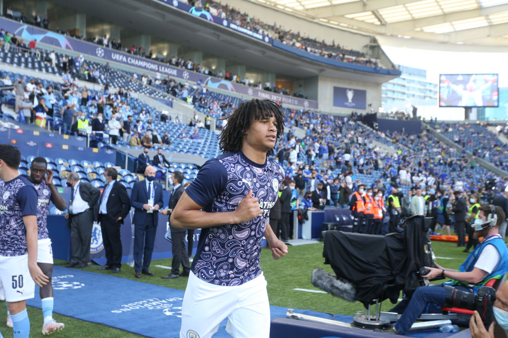 Manchester City defender Nathan Ake warming up before the Champions League final