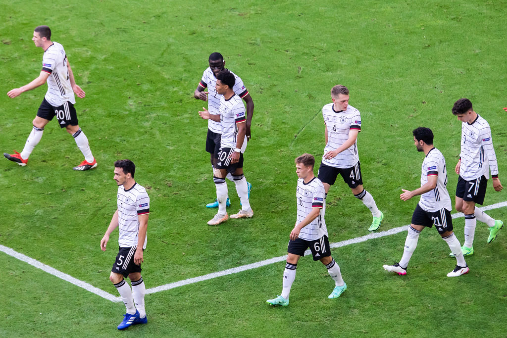 Players of Germany team celebrate a goal during the UEFA