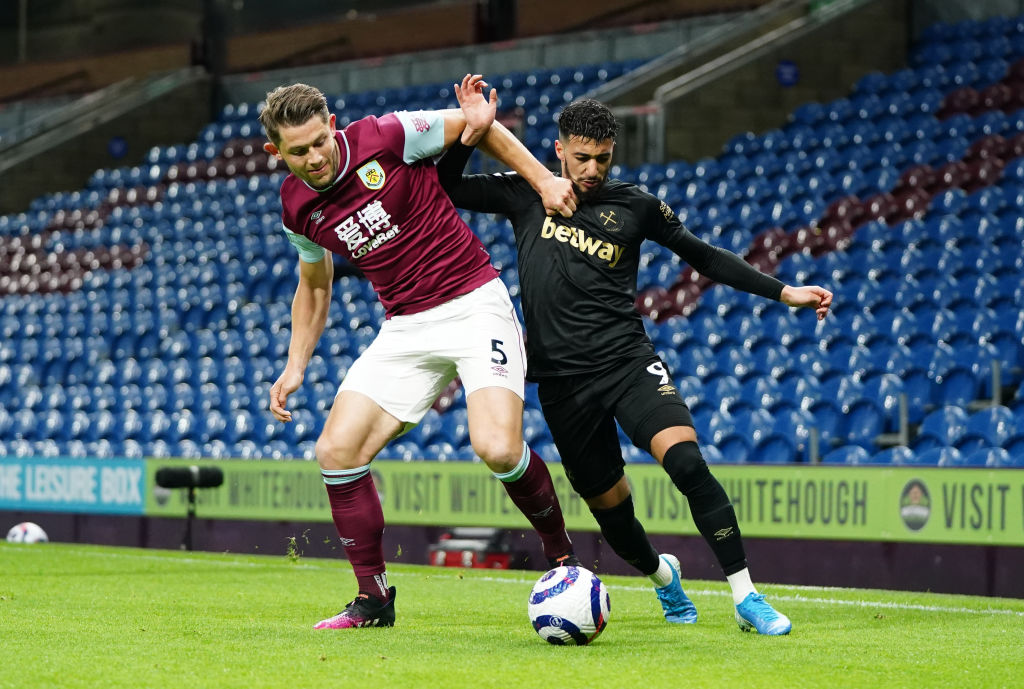 West Ham transfer target James Tarkowski in action against the Irons