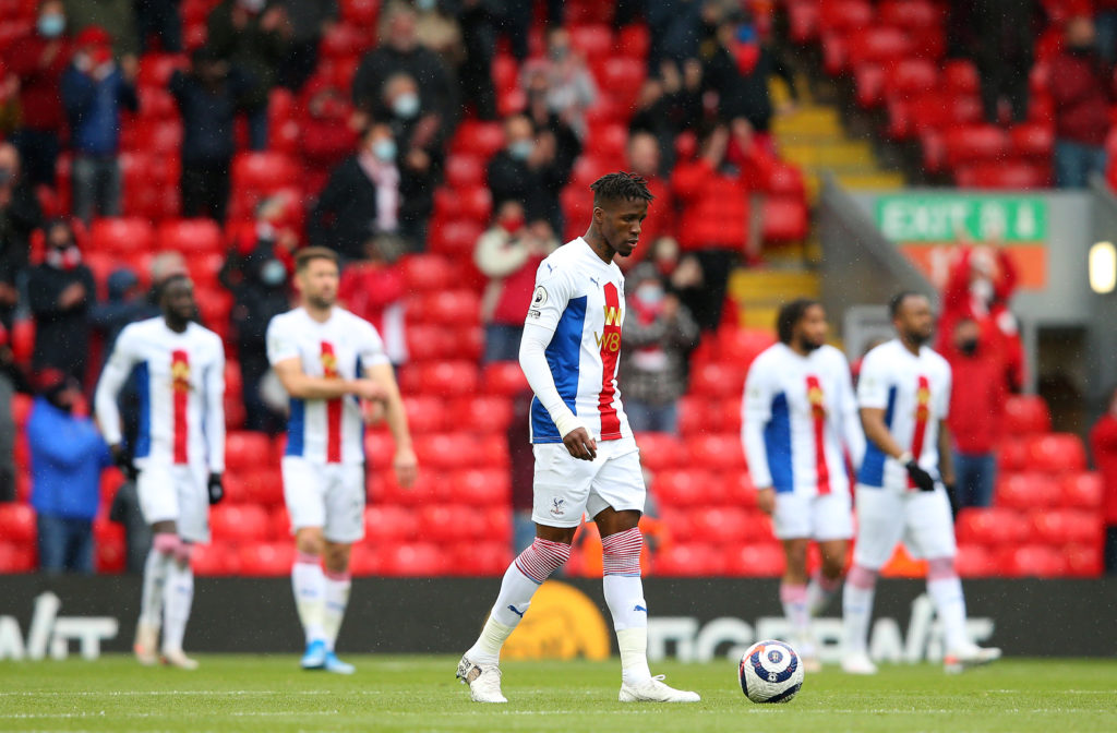 Crystal Palace players dejected at Liverpool