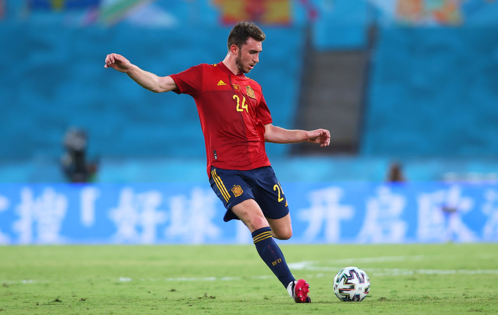 manchester-city-transfer-gossip-barcelona-target-man-city-defender-aymeric-clears-ball-for-spain-against-sweden-euro-2020