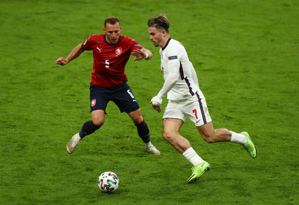 England v Czech Republic: Jack Grealish in action against Vladimir Coufal