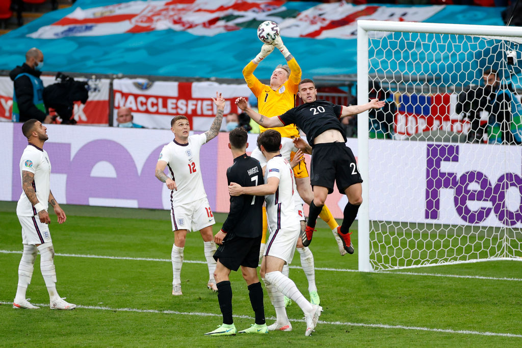 Jordan Pickford collects the ball as England beat Germany