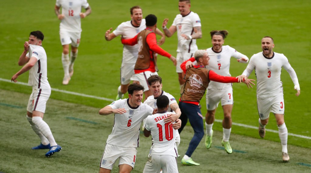 England players celebrate after Raheem Sterling scored against Germany