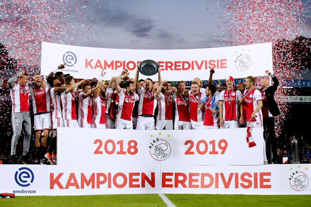 Reported Crystal Palace target Kasper Dolberg won the Eredivisie with Ajax in 2019
