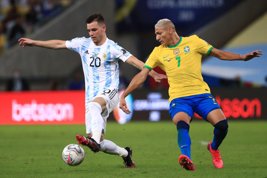 Spurs midfielder Giovani Lo Celso playing for Argentina against Brazil in the 2021 Copa America final