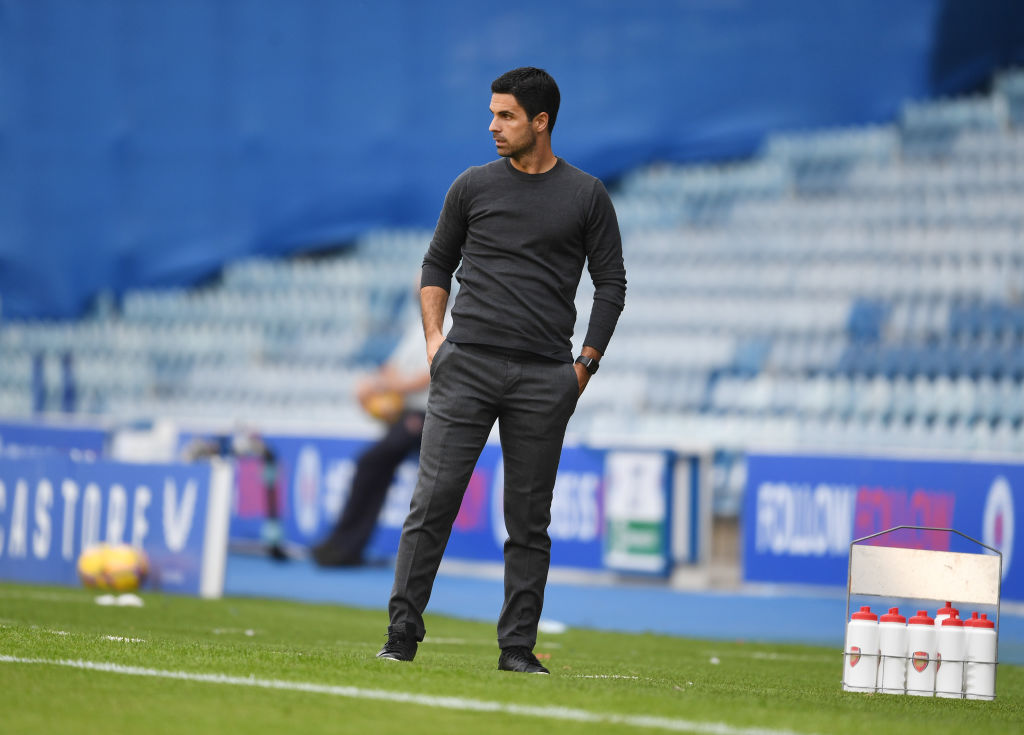 Mikel Arteta on the sideline as Arsenal face Rangers at Ibrox