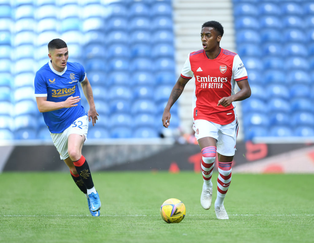 Joe Willock in action for Arsenal against Rangers at Ibrox