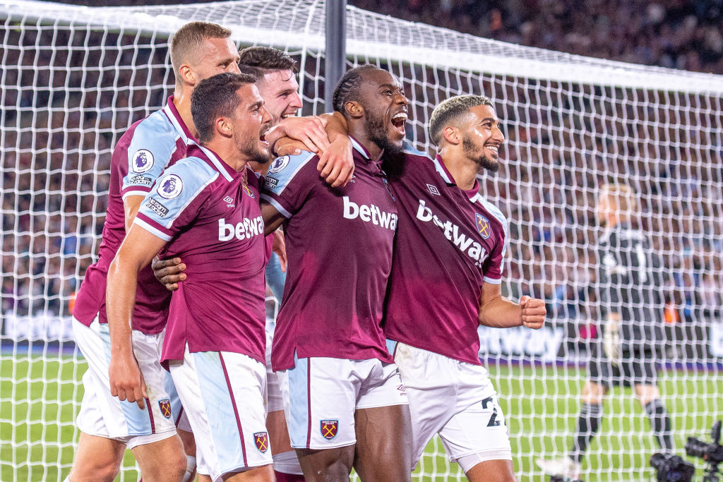 West Ham United celebrate their goal against Leicester