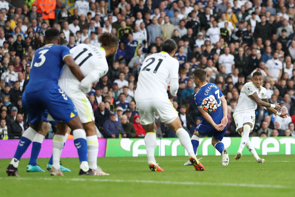 Raphinha scoring for Leeds in their draw with Everton