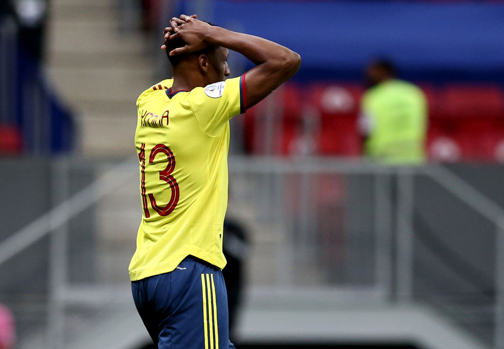 Yerry Mina in action for Colombia