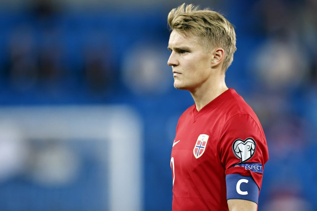 Martin Odegaard in action for Norway