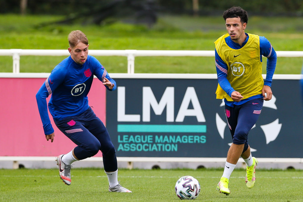 Curtis Jones in training with England under-21s