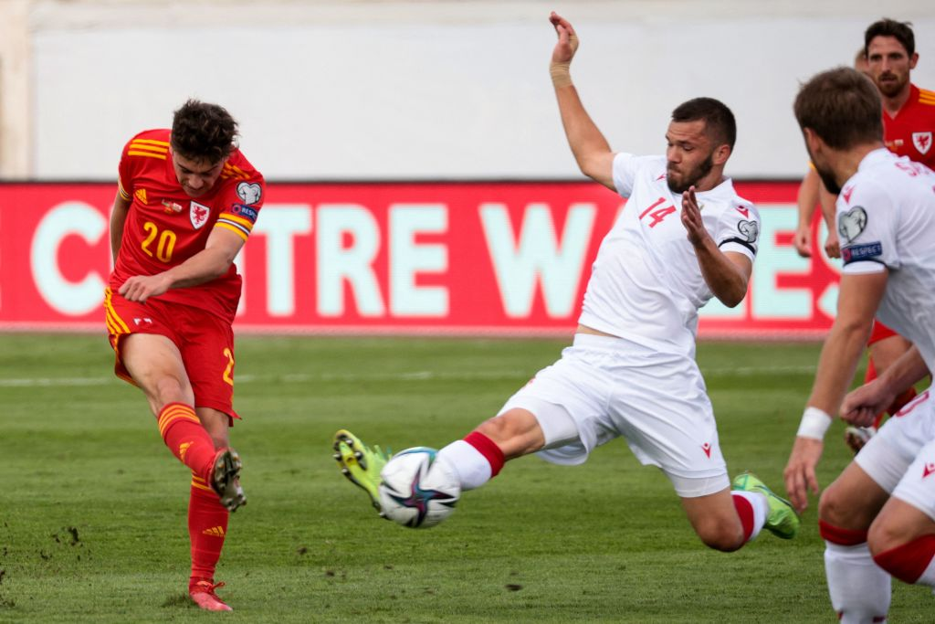 Dan James in action for Wales
