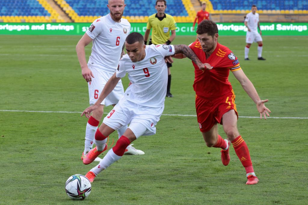 Ben Davies in action for Wales