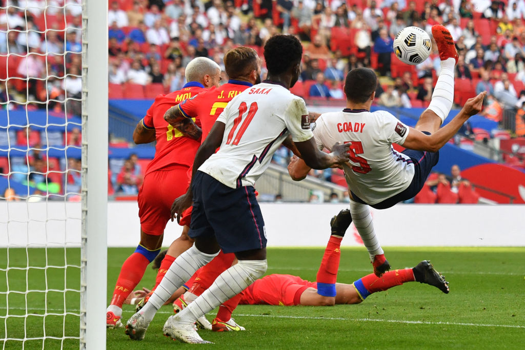 Wolves ace Conor Coady attempts an overhead kick for England