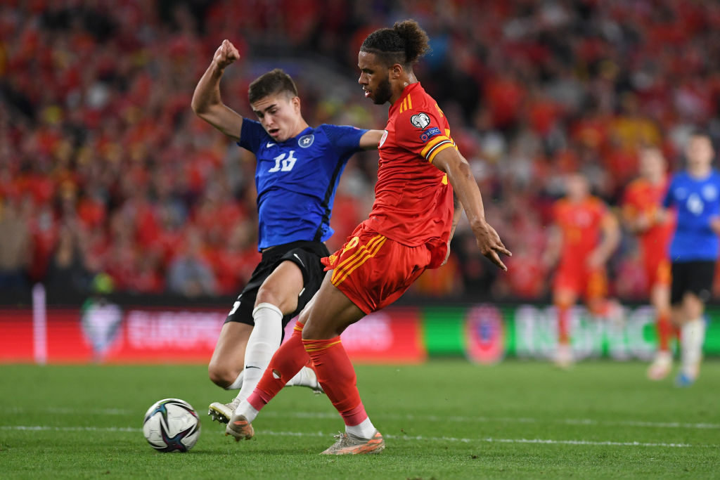 Tyler Roberts in action for Wales