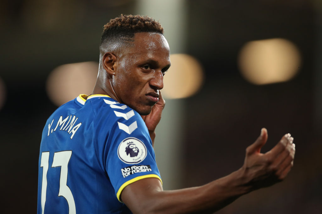 Everton defender Yerry Mina in action against Burnley