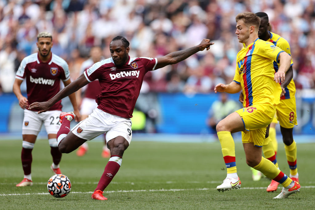 West Ham United in action against Crystal Palace