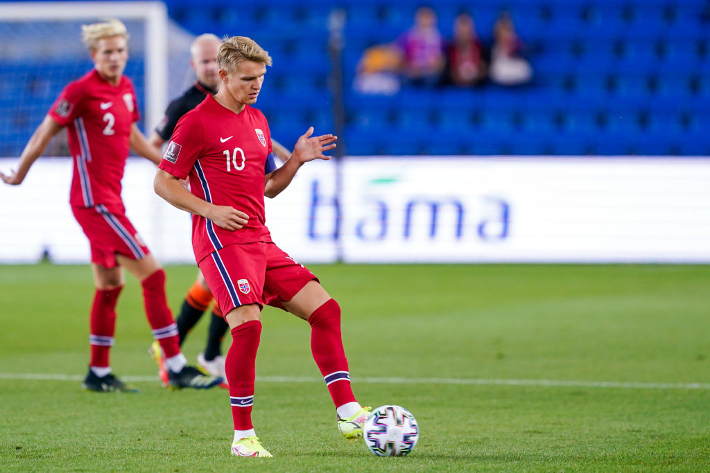 Martin Odegaard in action for Norway against the Netherlands