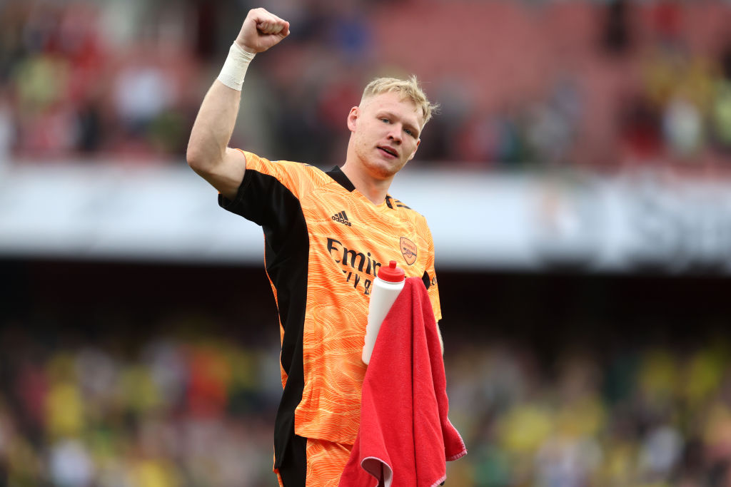 Aaron Ramsdale celebrates after Arsenal beat Norwich