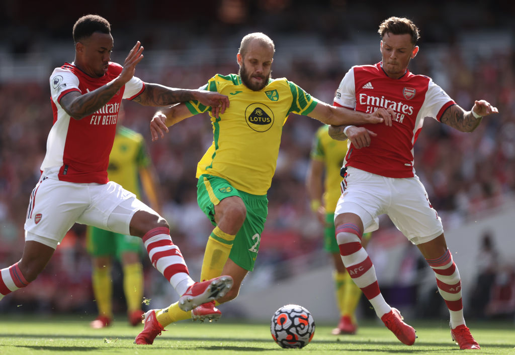 Ben White in action for Arsenal against Norwich