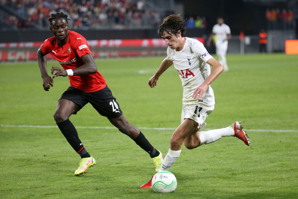 Stade Rennes v Tottenham Hotspur: Group G - UEFA Europa Conference League - Spurs ace Bryan Gil in action